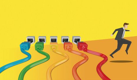 Illustration of 4 broadband lines in red, orange, yellow, green and blue - and a male office worker running away from them